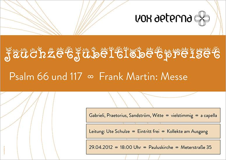 """Konzertplakat """"jauchzetjubeltlobetpreiset – Psalmvertonungen"""" des 16-stimmigen Vokalensembles vox aeterna aus Hannover"""