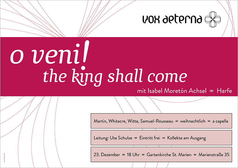 "Konzertplakat ""o veni – the king shall come"" des 16-stimmigen Vokalensembles vox aeterna aus Hannover"