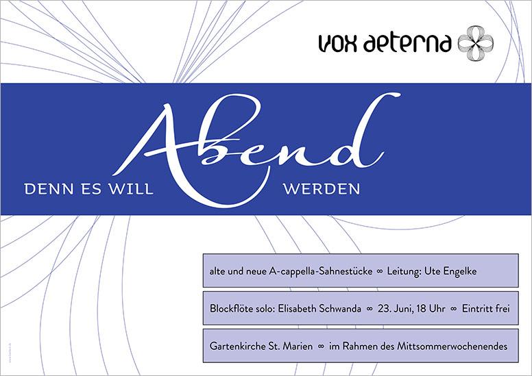 """Konzertplakat """"Denn es will Abend werden"""" des 16-stimmigen Vokalensembles vox aeterna aus Hannover"""