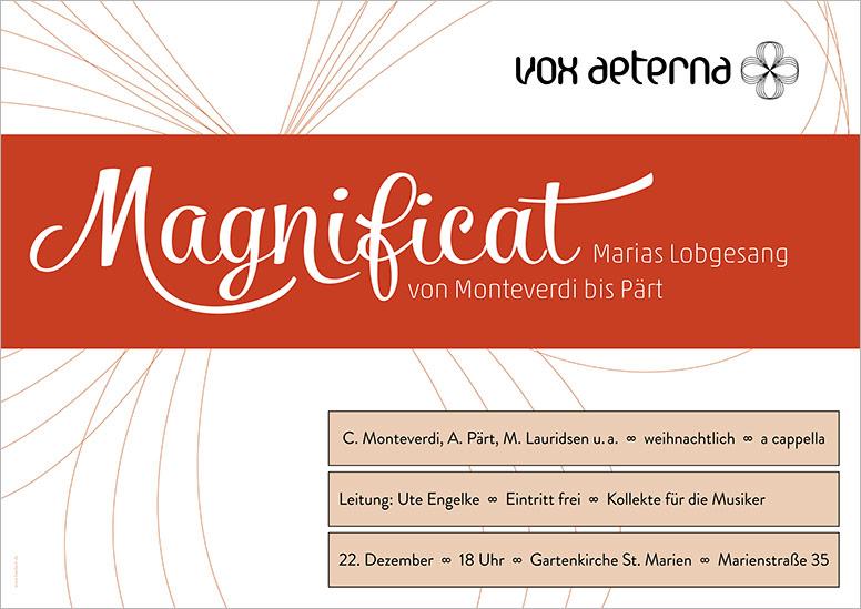"""Konzertplakat """"Magnificat – Marias Lobgesang von Monteverdi bis Pärt"""" des 16-stimmigen Vokalensembles vox aeterna aus Hannover"""