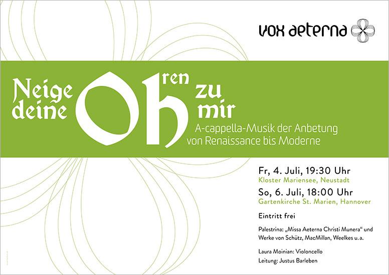 """Konzertplakat """"Neige deine Ohren zu mir – A-cappella-Musik der Anbetung"""" des 16-stimmigen Vokalensembles vox aeterna aus Hannover"""