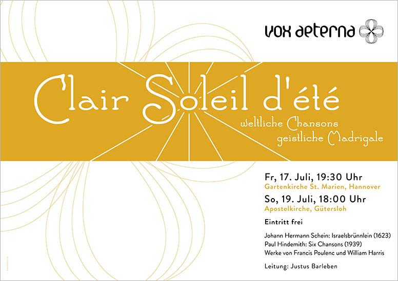 """Konzertplakat """"Clair Soleil d'été – weltliche Chansons, geistliche Madrigale"""" des 16-stimmigen Vokalensembles vox aeterna aus Hannover"""