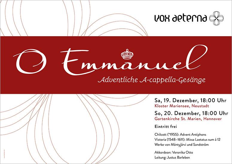 """Konzertplakat """"O Emmanuel – Adventliche A-cappella-Gesänge"""" des 16-stimmigen Vokalensembles vox aeterna aus Hannover"""