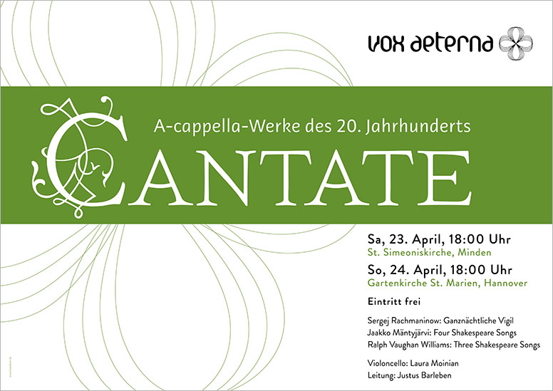 """Konzertplakat """"Cantate – A-cappella-Werke des 20. Jahrhunderts"""" des 16-stimmigen Vokalensembles vox aeterna aus Hannover"""