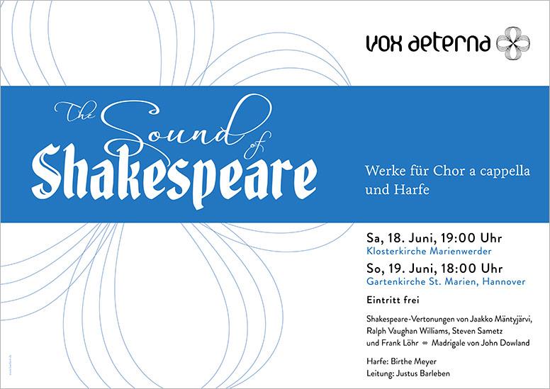 """Konzertplakat """"The Sound of Shakespeare – Werke für Chor a cappella und Harfe"""" des 16-stimmigen Vokalensembles vox aeterna aus Hannover"""