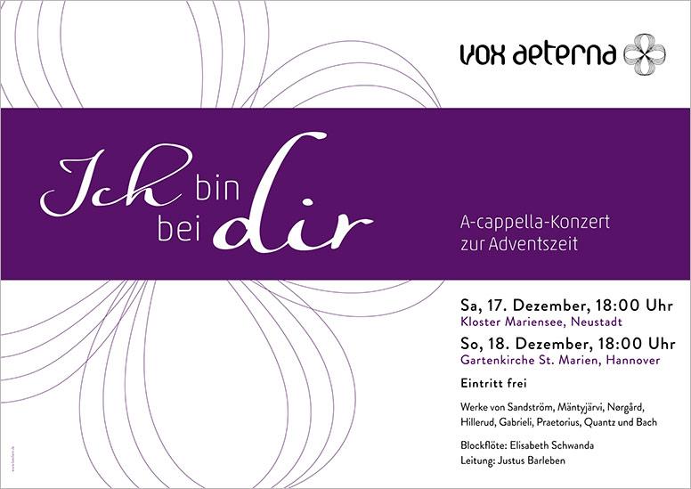 """Konzertplakat """"Ich bin bei dir – A-cappella-Konzert zur Adventszeit"""" des 16-stimmigen Vokalensembles vox aeterna aus Hannover"""