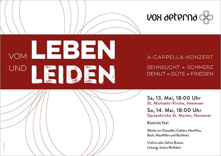 """Konzertplakat """"Vom Leben und Leiden – Sehnsucht, Schmerz, Demut, Güte, Frieden"""" des 16-stimmigen Vokalensembles vox aeterna aus Hannover"""