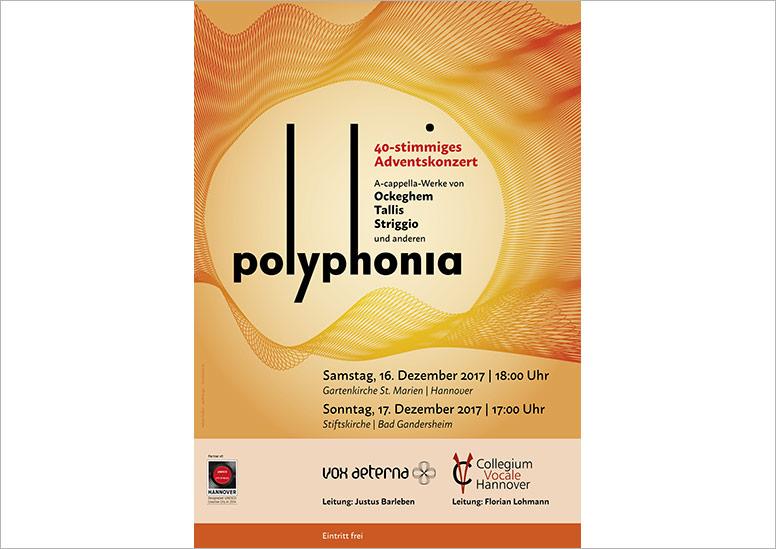 """Konzertplakat """"Polyphonia – 40-stimmiges Adventskonzert"""" von vox aeterna und Collegium Vocale aus Hannover"""