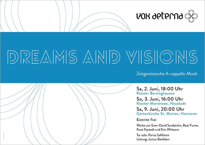 """Konzertplakat """"Dreams and Visions – Zeitgenössische A-cappella-Musik"""" des 16-stimmigen Vokalensembles vox aeterna aus Hannover"""