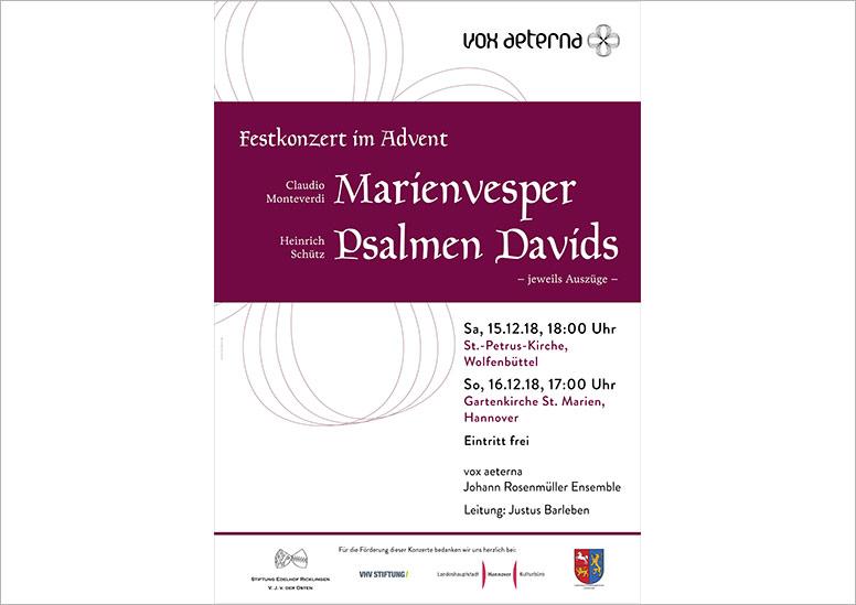 """Konzertplakat """"Festkonzert im Advent –Auszüge auch Monteverdis Marienvesper und Schütz' Psalmen Davids"""" des 16-stimmigen Vokalensembles vox aeterna aus Hannover"""