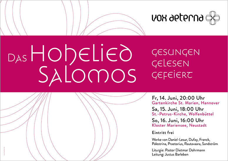 """Konzertplakat """"Das Hohelied Salomos – gesungen, gelesen, gefeiert"""" des 16-stimmigen Vokalensembles vox aeterna aus Hannover"""